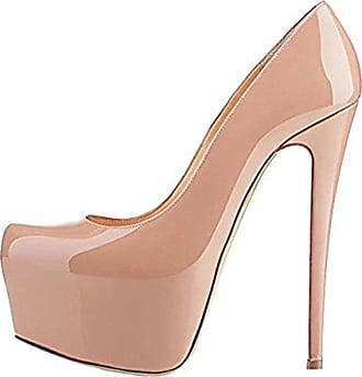 Onlymaker Damenschuhe High Heels Pumps Peep Toe Stiletto Plateau Absatz Lackleder  39 EUPink