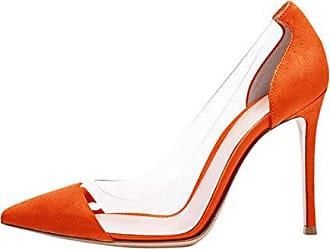 SHOWHOW Damen Blume Prinzessin Stiletto High Heels Sadalen mit Knöchelriemchen Orange 38 EU