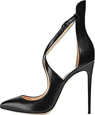 Onlymaker Damenschuhe High Heels Pumps Peep Toe Stiletto Plateau Absatz Lackleder  46 EUSchwarz
