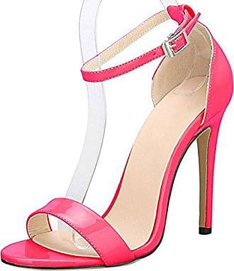 Aisun Damen Sexy Peep Toe Plateau Stiletto Hollow Out Pumps Sandale Mit Knöchelriemchen Rosarot 37 EU