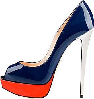 Onlymaker Damenschuhe High Heels Pumps Peep Toe Stiletto Plateau Absatz Lackleder  35 EUBlau Und Orange