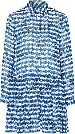 Opening Ceremony Woman Pleated Printed Silk-georgette Mini Dress Bright Blue Size 10 Opening Ceremony