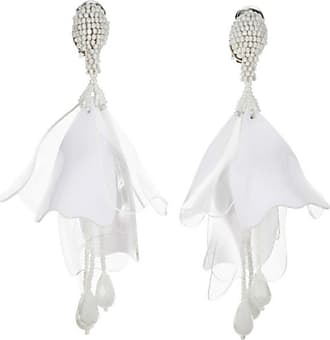 Oscar De La Renta Impatiens Flower Drop Earrings, Opaque White