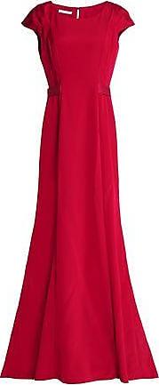 Oscar De La Renta Woman Grosgrain-trimmed Duchesse-satin Gown Crimson Size 4 Oscar De La Renta