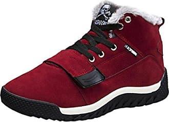 Oyedens Herren Schneestiefel Winterstiefel Warm GefüTterte Winterschuhe Stiefelette Outdoor Boots interschuhe Warm Gefüttert Winter Stiefel (44, Rot)