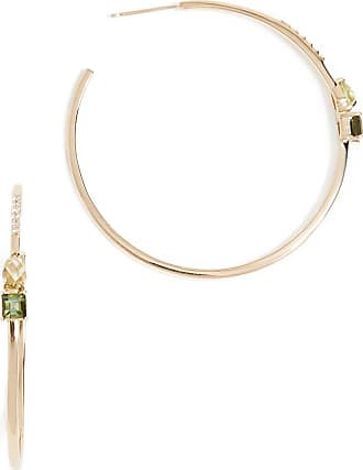 Paige Novick 18k Gold Large Open Hoop Earrings with Gemstone Details