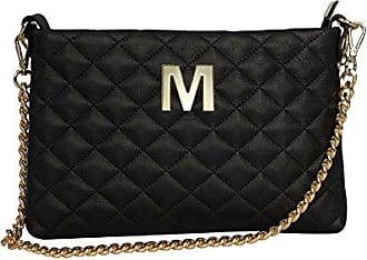 Pochette Tasche aus gestepptem Leder mit personalisiertem Schulterriemen mit Metall Initial - nero, C Paola T.