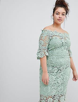 Off Shoulder Crochet Dress With Frill Sleeve - Mint Paper Dolls Petite
