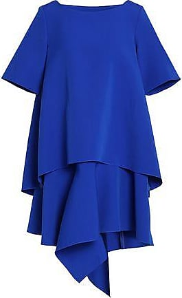Paper London Woman Asymmetric Silk-satin Turtleneck Dress Bright Blue Size 10 Paper London