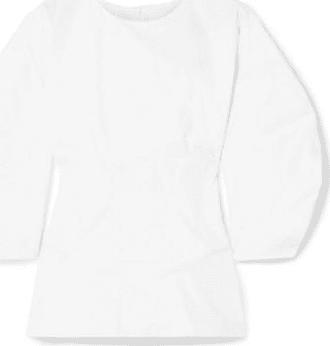 Paper London Woman Pleated Stretch Cotton-poplin Top White Size 10 Paper London