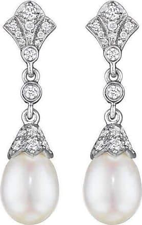 Penny Preville Diamond Pearl Drop Earrings on Posts