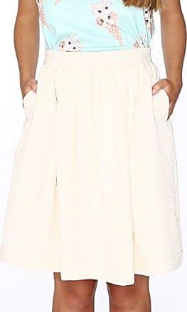 Quiz Mesh Ribbed Embroidered, Falda para Mujer, Blanco (White 0), 38