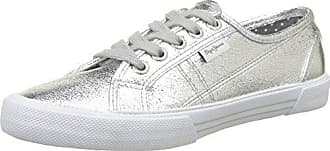 Pepe Jeans London Brompton Part, Sneakers Basses Femme, Argent (Silver), 36 EU