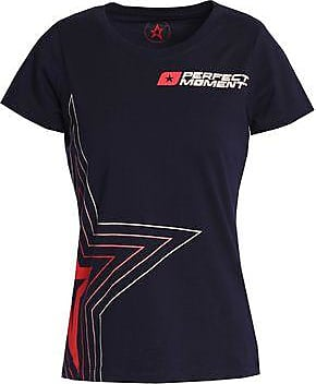 Perfect Moment Woman Printed Cotton-jersey T-shirt Navy Size XL Perfect Moment