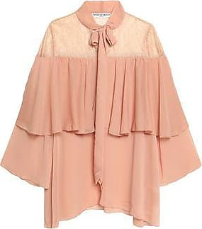 Perseverance Woman Cape-effect Pussy-bow Lace And Crepon Blouse Peach Size 14 Perseverance London
