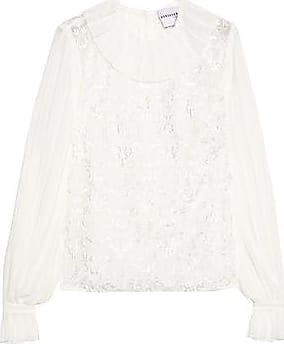 Perseverance Woman Floral-appliquéd Embroidered Pleated Crepe De Chine Mini Dress Off-white Size 8 Perseverance London