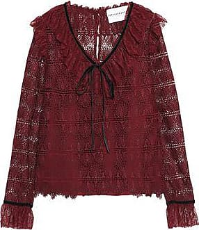 Perseverance Woman Velvet-trimmed Tasseled Chantilly Lace Bodysuit Burgundy Size 8 Perseverance London