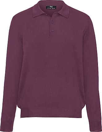 Polo jumper in 100% new milled wool design Achim Peter Hahn red Peter Hahn