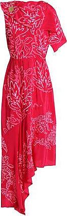 Peter Pilotto Woman Asymmetric Embroidered Silk-satin Midi Dress Bright Pink Size 12 Peter Pilotto