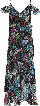 Peter Pilotto Woman Tiered Printed Silk-organza Midi Dress Black Size 8 Peter Pilotto