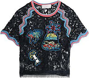 Peter Pilotto Woman Fringe-trimmed Embroidered Lace Top Navy Size 12 Peter Pilotto