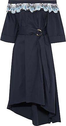 Peter Pilotto Woman Cold-shoulder Eyelet Cotton-poplin Mini Dress Blue Size 12 Peter Pilotto
