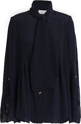 Peter Pilotto Woman Pussy-bow Ruffle-trimmed Silk Blouse Midnight Blue Size 8 Peter Pilotto