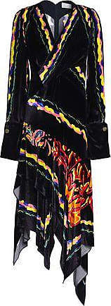 Peter Pilotto Woman Asymmetric Wrap-effect Printed Velvet Dress Dark Purple Size 8 Peter Pilotto