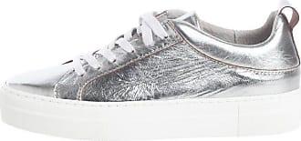 Pieces Silber-Leder- Sneaker, silberfarben, Silver Colour Pieces