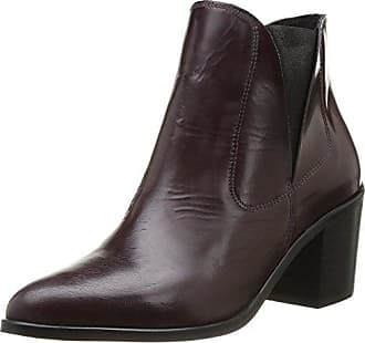 Pieces Iza Leather Zipper Boot, Boots femmeMarron (Dk Grey), 36 EU