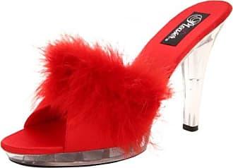 LIP-101-8, Sandales Bout ouvert femme, Rouge (Red Satin-Fur/Clr), 35 EU (2)Fabulicious