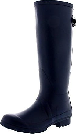 Damen Adjustable Back Tall Gloss Regen Wellies Gummistiefel Stiefel - Schwarz - 38 - CD0019
