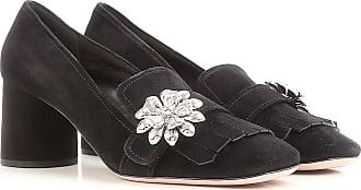 Cuñas para Mujer, Zapatos de Cuña Baratos en Rebajas Outlet, Marrón Oscuro, Gamuza, 2017, 39 39.5 Prada
