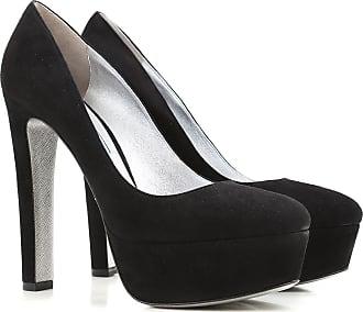 Zapatos de Tacón de Salón Baratos en Rebajas, Negro, Gamuza, 2017, 40 Prada