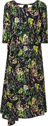 floral asymmetric midi dress - Black Prada