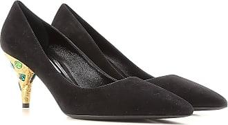 Zapatos de Tacón de Salón Baratos en Rebajas, Azul, Terciopelo, 2017, 35 37 37.5 38 39 Prada