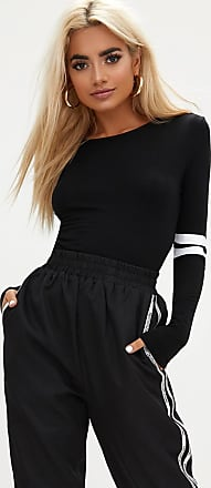 Black Jersey Sport Stripe Longsleeve Bodysuit Pretty Little Thing