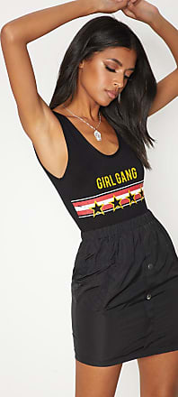 Black Girl Gang Distressed Printed Slogan Thong Bodysuit Pretty Little Thing