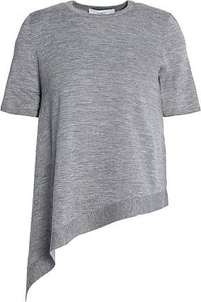 Pringle Of Scotland Woman Asymmetric Mélange Merino Wool Top Gray Size L Pringle Of Scotland