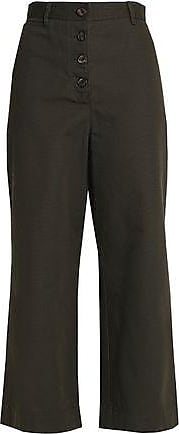 Proenza Schouler Woman Cotton-canvas Wide-leg Pants Forest Green Size 8 Proenza Schouler