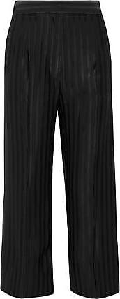 Protagonist Woman Cropped Striped Satin-jacquard Wide-leg Pants Black Size S Protagonist