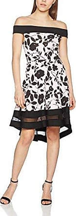 Womens Flock Print Bardot Contrast Panel Skater Party Dress Quiz