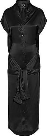 Woman Tie-front Silk Midi Dress Black Size XS R13