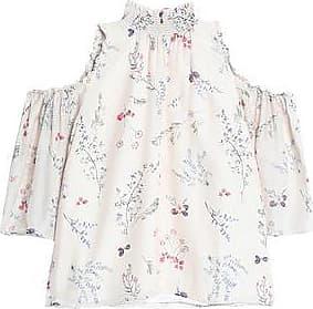Rachel Zoe Woman Cold-shoulder Floral-print Silk Crepe De Chine Blouse Ivory Size 10 Rachel Zoe