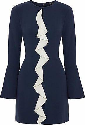 Rachel Zoe Woman Monner Ruffle-trimmed Crepe Mini Dress Navy Size 12 Rachel Zoe