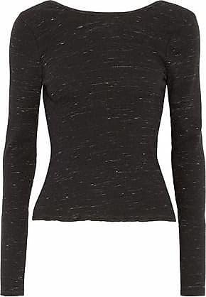 Rag & Bone/jean Woman Wrap-effect Marled Stretch-knit Sweater Black Size L Rag & Bone