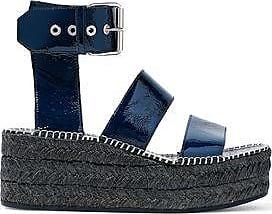 RAG&BONE Woman Crinkled Patent-leather Platform Espadrille Sandals Navy Size 39