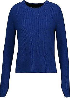 Rag & Bone/jean Woman Wrap-effect Marled Stretch-knit Sweater Black Size M Rag & Bone