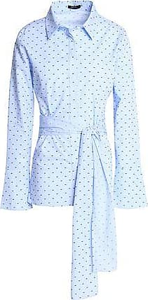 Raoul Woman Tie-front Embroidered Gingham Cotton-poplin Shirt Light Blue Size L Raoul