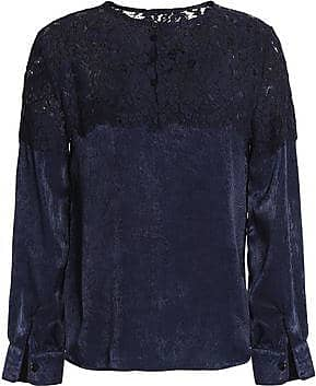 Raoul Woman Cotton-blend Corded Lace And Textured-satin Blouse Navy Size L Raoul